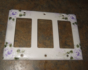 Shabby  Cottage Chic Hand Painted Lavender  Victorian Rose Triple Rocker Light Switch Cover