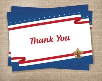 Eagle Scout Thank You Folded Cards Red, White, and Blue-Instant Download