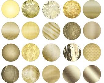 Gold Circles - 1, 2 & 3 Inch Gold Polkadots - Digital Golden Circle Clip Art - Gold Dots - Polka Dots