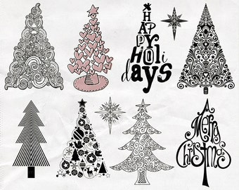 Christmas Tree ClipArt, Holiday Pine Tree Graphic Clip Art, Christmas Digital Stamp Images, Instant Download, DIY Christmas Cards