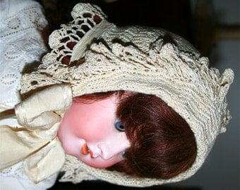 Antique Vintage Child Doll Crochet Hat Bonnet Edwardian Era