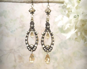 Ethereal - Champagne Crystal Earrings Romantic Chandelier Earrings Ivory Pearl Earrings Boho Wedding Jewelry Victorian Edwardian Teardrop
