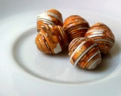 5 paper beads - orange yellow -