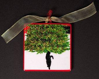 Christmas Ornament, Black Cat in Snow  Tree Ornament, Cat Lover, Holiday Gift, Stocking Stuffer, Designer Cat Art by Deborah Julian