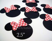 """Minnie Mouse Heads with Red Polka Dot Bow Die Cuts - 2.5"""" - Set of 12+"""