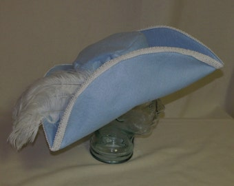 Powder Blue Pirate Hat- Classic Tricorn with White Trimmings