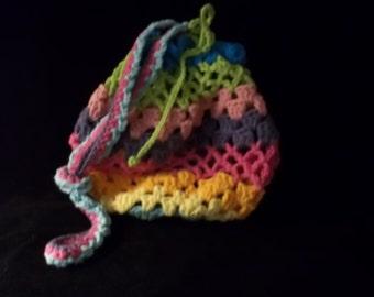 Purse - Crochet - Rainbow - Drawstring