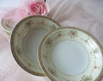 Vintage Meito China Vivian Pink Gold Floral Berry Bowls Set of Six
