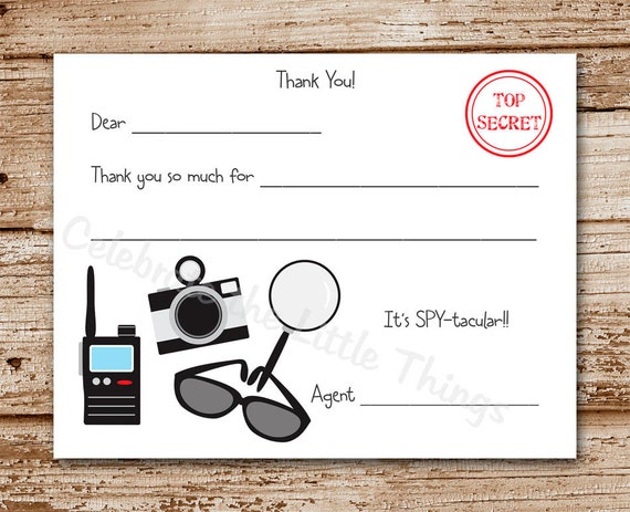 Printable / Spy, Secret Agent Thank You Cards / Fill in the Blank ...
