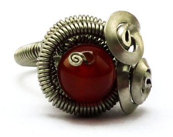 Steampunk Ring, Red Carnelian Ring, Wire Wrap Ring, Spiral Ring, Rocker Ring, Gemstone Ring, Red Stone Ring, Wrapped Ring, Spiral Ring