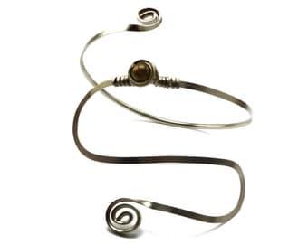 Gypsy Arm Cuff Spiral Armlet Silver Arm Band Wire Arm Bracelet Upper Arm Cuff Upper Arm Band Upper Arm Bangle Boho Armlet Fetival Jewelry