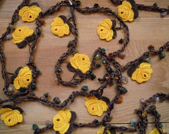 crochet lariat necklace ,extra long, yellow rose