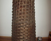 """Wonderfully Aged Rustic Tin Lined Hand Woven 24"""" Tall Basket ~ 1920's - 40's"""