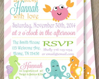 Ocean Sweeties, Set of 10 Personalized Baby Shower or Birthday Invitations, Professionally Printed