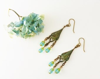 Aqua  Vintaj Brass Chandelier Earrings  /  Steampunk /  Boho Chic / Antique Style