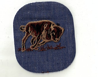 Running Buffalo -Vintage  1970's Sewing Applique Patch
