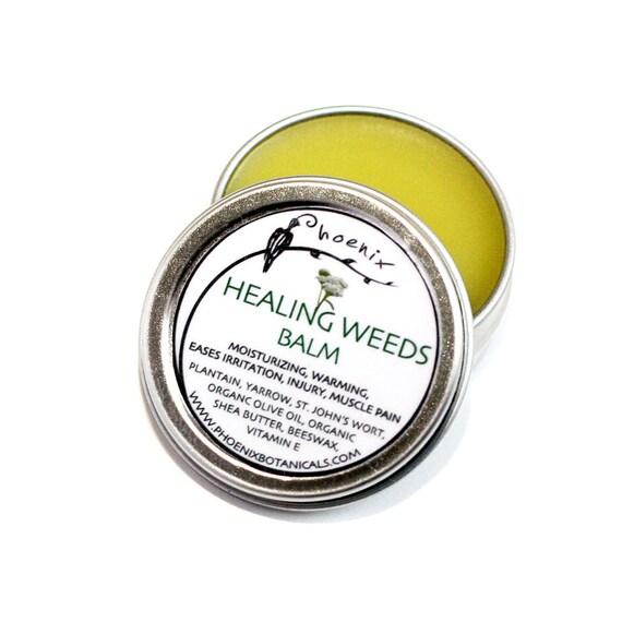 Healing Weeds Balm - Yarrow, St. John's, Plantain - Organic, Wildcrafted-  herbal remedy, salve 1/2 oz tin