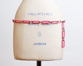 Vintage 60s 70s MOD Pink Plastic Chain Link Necklace Belt