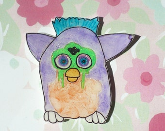 Furby, 90s, pastel grunge, brooch, holographic glitter, 90's, 90's fashion, 90's kid, pastel kawaii, cute pin