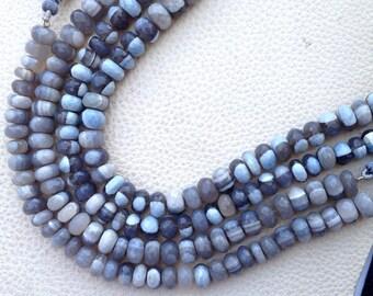 African NATURAL GREY OPAL,10 Inch Superb-Superb-Superb- Multi Grey Opal Faceted Rondells,7-7.5mm size,Superb Grade