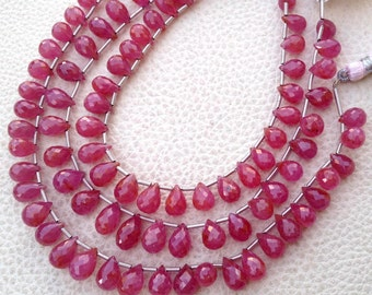 SUPERB, Natural Pink SAPPHIRE Micro Faceted Drops Briolettes,8-10mm, Super Finest Quality, 8 Pieces Strand.