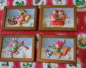 RESERVED // adorable set of 4 3D puffy fabric winter snow scenes framed wall art - forest friends with musical instruments