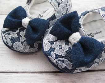 SALE Denim and lace toddler shoes denim shoes lace shoes embellished baby shoes handmade baby shoes -  Casual Elegance