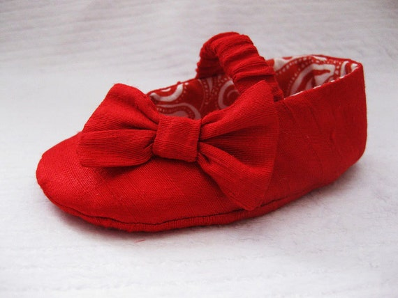 Girls red shoes red baby shoes Dupioni Silk shoes for girls
