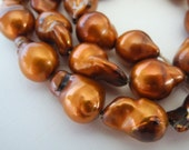 Flameball Baroque Pearls Nucleated Copper Brown Large 17mm  Half Strand 14 Pieces