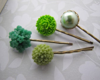 Green Hues . bobby pins . girls hair accessory . mint sage lime