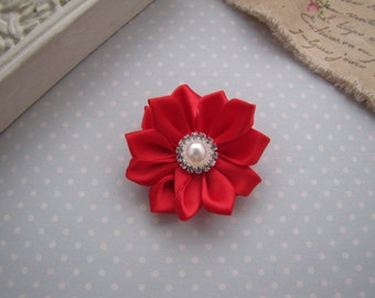 Flower Girl . satin ribbon flower . clippie . girls hair accessory . red . choose your clip style