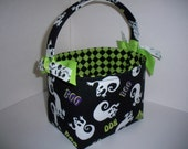 Halloween Trick or Treat Fabric Basket / Bucket / Bag / Tote- Black white Ghosts Boo - Ready to ship