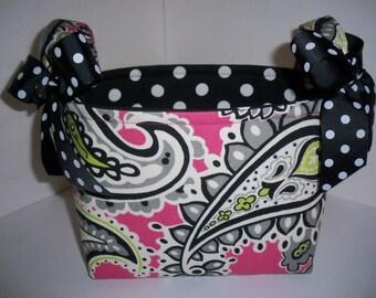 Pink Black Paisley Polka Dot Organizer Bin / Fabric Basket / Small Diaper Caddy