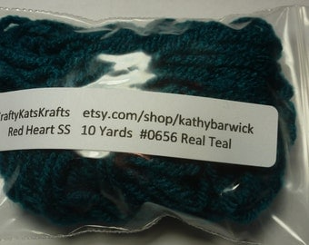 10 Yards Red Heart Super Saver Yarn #0656 Real Teal
