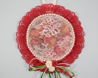 Vtg Wood Embroidery Hoop Frame Boudoir Potpourri Room Sachet Red Lace Pearled Strand Ornamental Wall Door Closet Hanging Bedroom Decoration