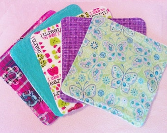 Flannel and Fleece Cloth Wipes - Set of 10