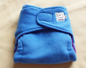 Blue and Purple Fleece Diaper Cover - LARGE