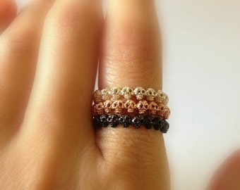 Tiny Skull stack rings, Black Gold, White Gold, and Rose Gold Plated