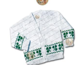 Shamrock Clover Cardigan 6 months to 3 years - Vintage Kintting Pattern - Instant Download PDF - PrettyPatternsPlease
