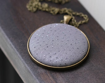 Silver Glitter Necklace, Modern Necklace, Minimal Jewelry, Metallic Fabric Necklace, Gray Necklace, Silver Polka Dots, Gold Silver Pendant
