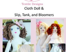 """Pattern 18"""" Cloth Doll Includes Embroidery Pattern for Face Instructions for Hair Detailed Tutorial and Pictures"""