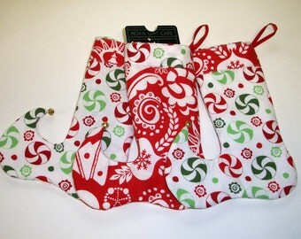 Gift Card Holders Christmas Stocking Ornaments Elf Toes Jingle Bells Set of Three