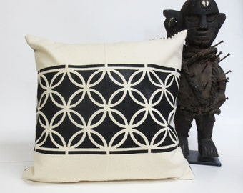 Hand Printed Pillow with Geometric Tribal Design - Black and Ivory Pillow
