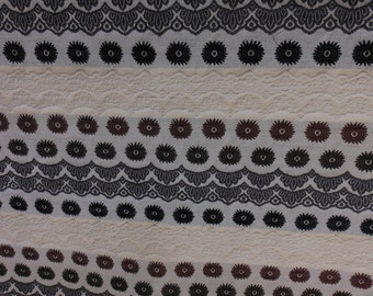 fabric by the yard, contemporary,  textured cotton, black, brown cream stripe, one yard, 54 inches wide
