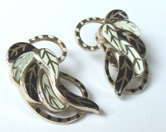Large Atomic Vintage Earrings Black White Clip On Vintage Jewelry