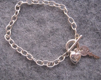 Heart and Key Charm Bracelet, Friendship Bracelet, Sterling Silver Link Chain with Toggle Clasp