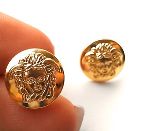 Grecian Medusa Stud Earrings in Shiny Gold Tones. Will arrive in Gift Box w/Ribbon. FAST shipping from USA with Tracking for US Buyers.