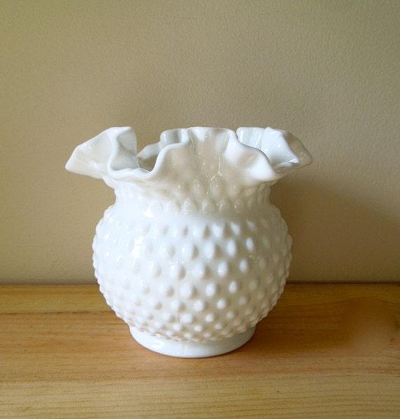 Milk Glass Vase by Fenton Ruffled White by stuartroadvintage Ruffled Glass Vase