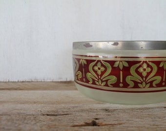 Rare Vintage Bowl, Lime Green and Red