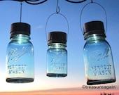 Trio of Mason Jar Solar Lights Combo 2 Qt 1 Pt Antique Blue Hanging Solar Mason Jar Lanterns for Gardener or Naturalist Gift Giving
